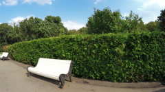 Alley in park with benches Stock Footage