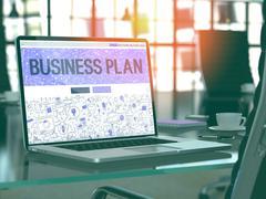 Business Plan Concept on Laptop Screen Stock Illustration