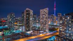 CN Tower Toronto Night Time Lapse Gardiner Expressway 4K 1080P Stock Footage