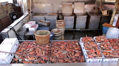 Steamed crabs at a fish market. - stock footage