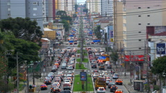 Traffic on Busy Road at Rush Hour in Curitiba, Brazil - stock footage