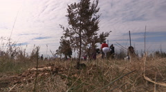Students plant trees on Earth Day in Markham Canada v40 Stock Footage
