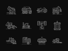 Agronomy machines white flat line vector icons Stock Illustration