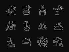 Mexican restaurant white flat line vector icons Stock Illustration