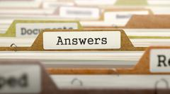 Folder in Catalog Marked as Answers - stock illustration
