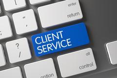 Blue Client Service Keypad on Keyboard Stock Illustration