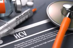 HCV - Printed Diagnosis on Grey Background - stock illustration