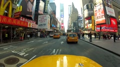 NYC cab point of view in Times Square. - stock footage
