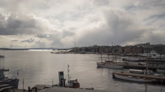 Panning time lapse of Oslo Fjord downtown Oslo Stock Footage