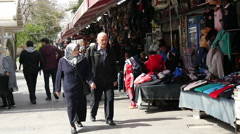 trade lines on the street of Istanbul. Historic District, Turkey,  slow motion - stock footage