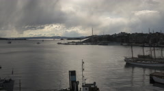 Panning time lapse of Oslo Fjord downtown Oslo, covering Oslo harbor, Akerbrygge Stock Footage