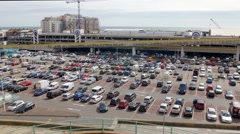 View of a huge parking lot Stock Footage