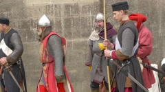 Parade of medieval characters Stock Footage