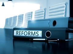 Reforms on Folder. Toned Image - stock illustration