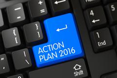 Blue Action Plan 2016 Button on Keyboard - stock illustration