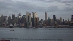Dramatic Sunset Time-Lapse of Midtown Manhattan with Clouds Passing - stock footage