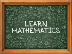 Green Chalkboard with Hand Drawn Learn Mathematics - stock illustration
