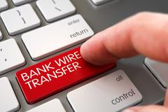 Hand Touching Bank Wire Transfer Key - stock illustration
