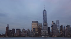 Moon, Airplane, and Aviation trails Time Lapse above the World Trade Center Stock Footage