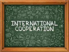 Hand Drawn International Cooperation on Green Chalkboard - stock illustration