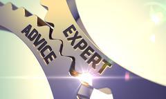 Expert Advice on Golden Gears - stock illustration