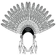 Headdress with decorative and plain feathers - stock illustration