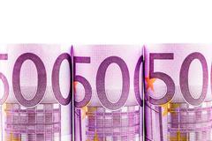 500 euro row on white background - stock photo