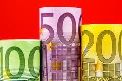 podium made of big euro banknotes - stock photo