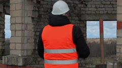 Angry Civil engineer talking near building Stock Footage