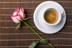 Coffee and rose Stock Photos