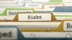 Risks Concept on File Label - stock illustration