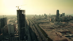 Wide and Aerial View, Skycrapers in Manama during Sunset- Bahrain 02 Stock Footage