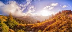 "Panorama ""Sunny morning in the Ukrainian Carpathians"" Stock Photos"