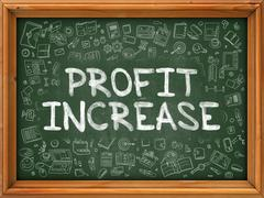 Profit Increase - Hand Drawn on Green Chalkboard Stock Illustration