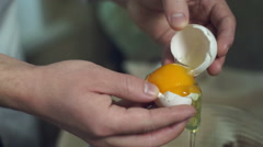 Chef cooking food. Break egg. Closeup. Cooking food. Baking ingredients Stock Footage