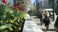 People Enjoying Gorgeous Spring Weather In Downtown Vancouver Stock Footage