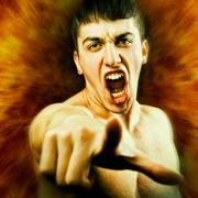 Angry Man Screaming and Pointing Finger Stock Photos