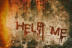 Horror Crime Concept. Help Message on Bloody Background Wall - stock illustration