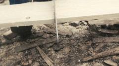 Cutting a wood slowmotion closeup shot.  - stock footage