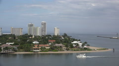 Florida Fort Lauderdale condos and boat Stock Footage