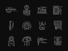 Gauging tools white flat line vector icons - stock illustration
