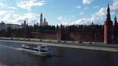 The ship sails along the Moscow River along the Kremlin embankment Stock Footage