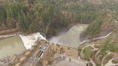 Aerial Drone Footage flying over Snoqualmie Water Falls in Washington Stock Footage