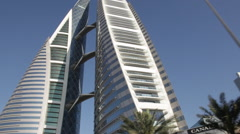 Pov Camera Onboard - The emblematic WTC, view from the Highway in Bahrain Stock Footage
