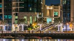 Promenade in Dubai Marina timelapse at night, UAE Stock Footage