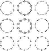 Set of nine decorative vector  round frames - stock illustration