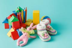 Shot of pile of various toys and figurines Stock Photos