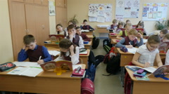 View of elementary school students in the classroom, Full HD shot Stock Footage