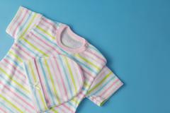top view fashion trendy look of baby clothes - stock photo