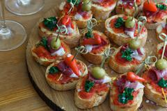 Pinchos, tapas, spanish canapes, party finger food Stock Photos
